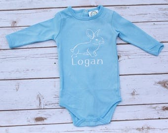 Baby Easter Bunny Bodysuit; Baby Boy Easter Shirt; Baby Girl Easter Shirt; Child Monogram Easter Shirt; Heat Transfer Vinyl Easter Shirt