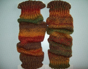 Multi coloured chunky knit leg warmers. AUTUMN, AMETHYST (purple), ACER (reds), Heather (purples and greys), Chalk & Charcoal, greens, brown