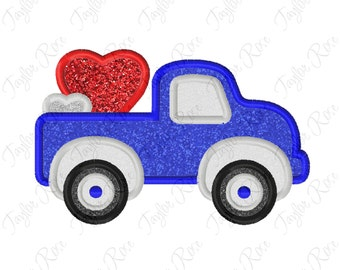 Truck Hearts Applique Machine Embroidery Design 4x4 5x7 6x10 Love Valentine Valentine's Day Valentines INSTANT DOWNLOAD