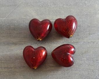 Red Murano Glass  Hearts- Destash - Glass Beads- Focal Pendants-Sale - Heart Beads - Heart Pendants- Murano Italian Glass beads