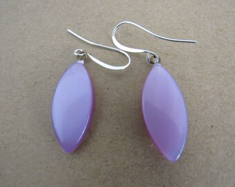 Vintage Purple Moonglow Plastic Earrings Silver Wires.