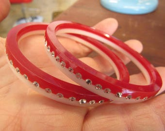 Red and White Plastic and Rhinestone Bangles Smaller Wrist
