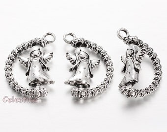 3 x Antique Silver Angel Charms - Rotatable Angel Charms - Angels with Flowers Pendants - Winged Angel Pendants - Fairy Charms 25mm