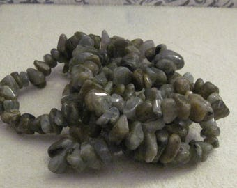 Labradorite Greenish Gray Nuggets 36 Inch Strand