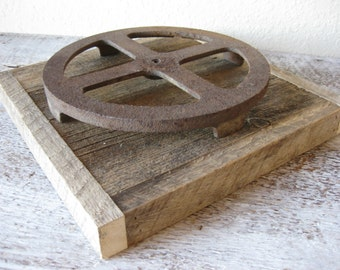 Reclaimed Barn Wood Candle Base with Salvaged Rustic Metal Gear Candle Holder ~ Centerpiece