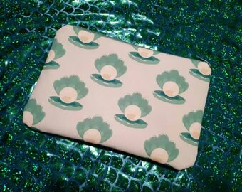 Handmade clam and pearl under the sea makeup bag