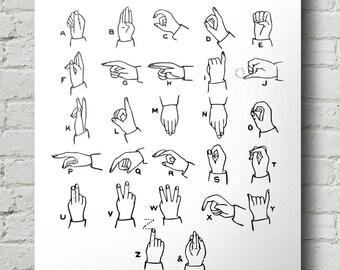 Alphabet Print, Sign Language Print, INSTANT DOWNLOAD, Printable Nursery Decor, Black & White Print, Vintage Illustration, Hand Signs
