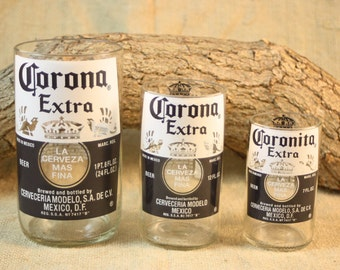 Corona Drinking Glass Set, Set of Three (3), Upcycled Corona Bottles, Party Set of Drinking Glasses From Corona Bottles