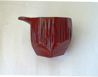 Lacquered wood Katagushi 4 inches X 2.3/4 inch period red sake carafe XX century.