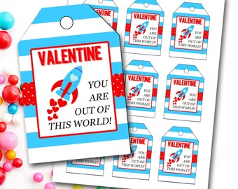 Valentine's Day Tag, Boy Valentine's Tag, Rocket Valentine's Tag, Rocket Ship, Instant Download, Party Favor Tags, DIY Printable