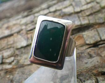 Vintage Sterling Silver Chrysoprase Denmark Danish Silver Ring