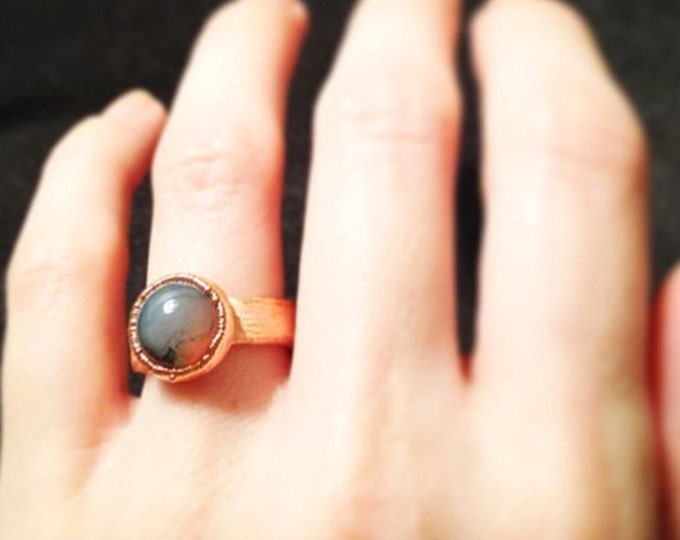 Moss agate Copper electroplated Ring, Copper Electroformed Ring, Size 4.25 Ring