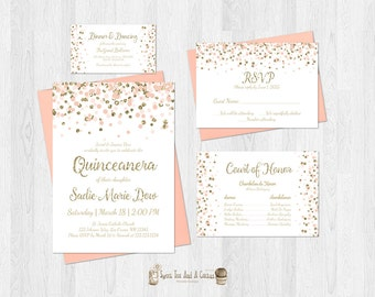 Quinceanera Invitation Set Blush Pink and Gold Glitter Birthday Bundle Shabby Chic Elegant Quince Court Card RSVP Dance Sweet Fifteen