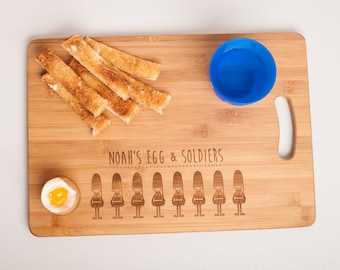 Personalised Egg & Soldiers Chopping Cutting Board. Cb