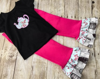 4T Embroidered Girls Black Shirt - Boutique Girl's Clothes - Teapot Outfit - Tea Party Girls Clothes - Floral Tea Time Embroidery WONDERLAND