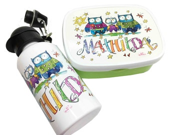 Kindergarten set owls, lunch box and drink bottle with name