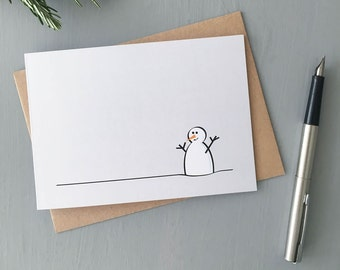 Snowman Greeting Cards, Pack of Four, Blank Cards with Envelopes