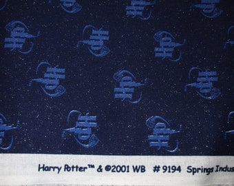 "Harry Potter Fabric ""HP"" Initials RARE 2001 Out of Print Fat Quarter 18"" x 22"""