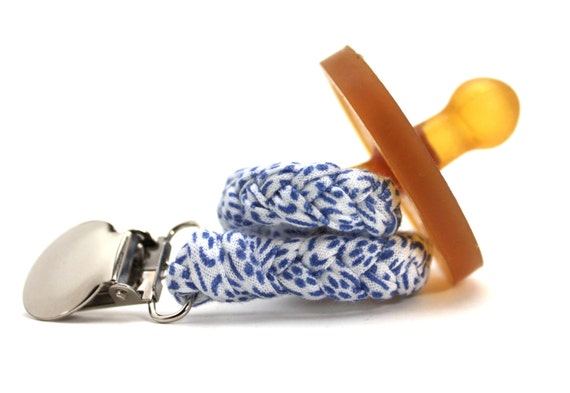 Pacifier Clip / Braided Pacifier Clip / Blue and White / binky / pacifier holder / neutral gift / shower gift / Jersey Braided Pacifier clip