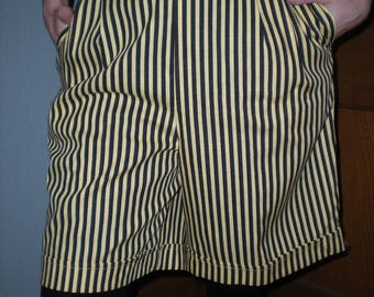Black and Yellow Striped High Waist Wide Leg Cuffed Shorts Culottes Size 14 New from Old Stock by Donovan Galvani of Dallas