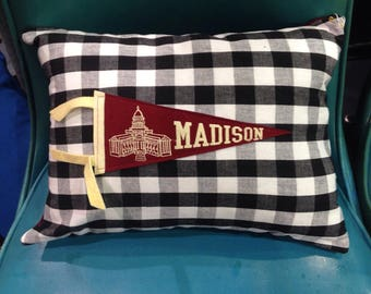 Wisconsin pennant pillow red and white