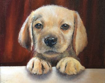 Ready, Small Puppy Labrador painting by Laurel Moore