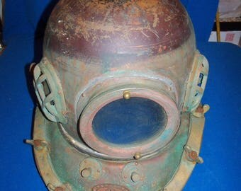 Scarce antique Nautical Korean copper & brass 12 bolt dive divers diving helmet