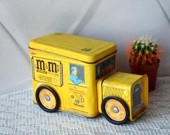 Vintage Tin Box truck M&Ms, collectible car box, storage btrinket box, Mid century storage, metal tin buss, Movable Wheel, Yellow car driver