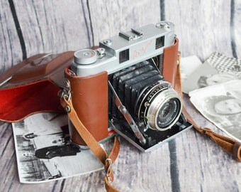 Very Rare ISKRA Soviet Vintage Camera Agfa Isolette copy, Vintage USSR Medium Camera 6x6, Industar-58 Lens, Cool Vintage Condition