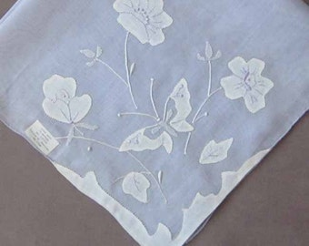 Lilac or Lavendar Vintage 1960's Madeira Hanky Handkerchief White Appliqued Embroidered Butterfly and Flowers 16 inch Square Rolled Edges