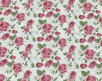 Pink Floral Roses Printed Leather Fabric Sheets Floral PU Leather A4 Sheet 210 x 297mm Floral Leather Bows Floral Leather Headbands
