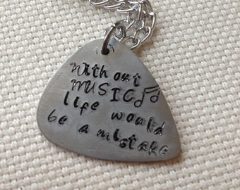 Music Pendant - Musical Necklace - Metal Stamped Pendant for Musicians and Music Lovers
