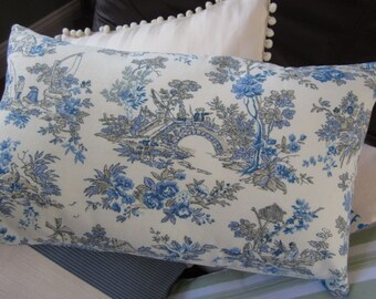 Blue and white toile cotton throw pillows in various sizes