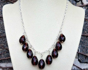 red burgundy vintage czech glass statement necklace-red teardrop cascading necklace-red waterfall necklace-statement necklaces-silver
