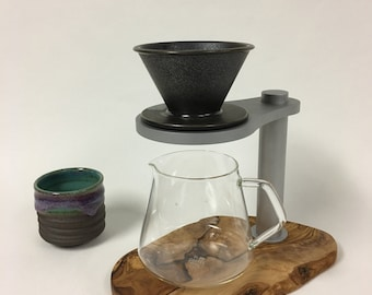 SALE-- Pour Over Stand, Coffee Dripper Stand- Olive wood base, machined aluminum stand