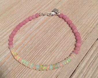 """Ethiopian opal bead bracelet & faceted rose quartz 71/4"""" S925 clasp"""