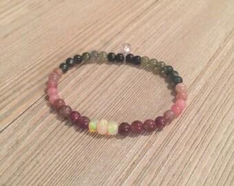 "Ethiopian opal & tourmaline beaded bracelet~pink amethyst accent bead~7"" or less"