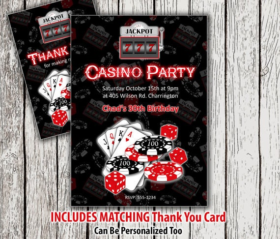 30th Birthday Invitation Thank You Card Printable Casino