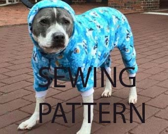 Dog pajama pjs *digital* download SEWING pattern for larger chested breed dogs,  pitbull etc.  Tutorial for adjusting and printing too.