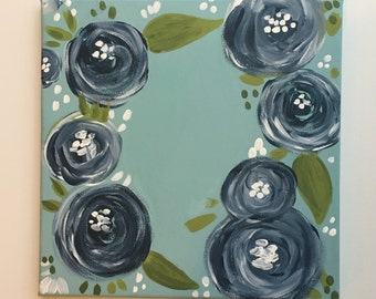 10x10 // Navy and Blue Roses // Hand Painted Canvas // Customizable