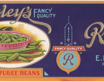 Rowley's Cut Refugee Beans Embossed Vintage Can Label E. H. Rowley Fabius, New York