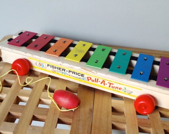 1964 Fisher Price Pull A Tune Xylophone Toy