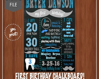 Mustache First Birthday Chalkboard - Teal, White, Black, Gray - First Birthday Chalkboard - About Me Poster - First Birthday - Boys Birthday