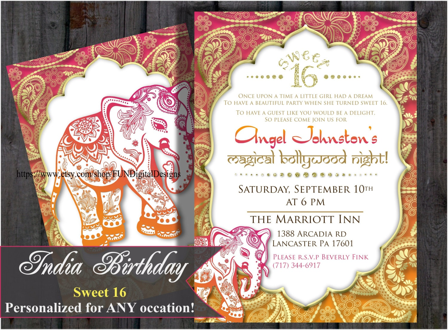 Sweet 16 sixteen Birthday Bollywood Invitation Indian – Bollywood Birthday Card