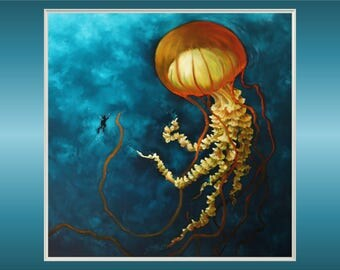 "Original 20x20"" Oil Painting - Diver and Giant Jellyfish Wall Art"