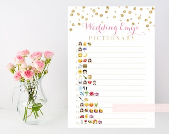 Wedding Emoji Pictionary printable bridal shower game, gold confetti, pink and gold, downloadable shower game, INSTANT DOWNLOAD 008