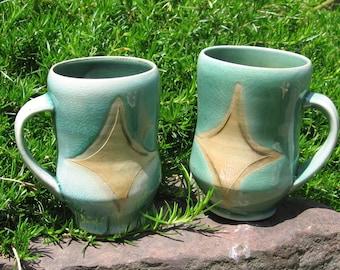 Set of Two Celadon Mugs