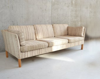 Danish 1970's mid century 3 seat 8 cushion sofa with original upholstery