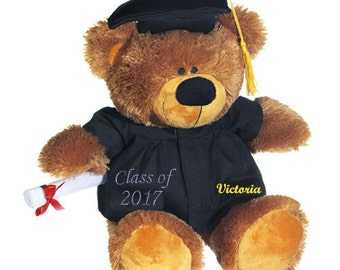 "Personalized Custom Graduate Bear 12"" Embroidered with Name Class of 2018 Graduation gift for boys graduation gift for girls"
