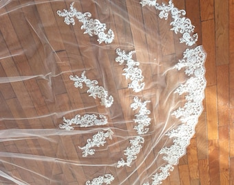 3M Wedding Veil With Appliques Lace Cathedral Bridal Veil with comb